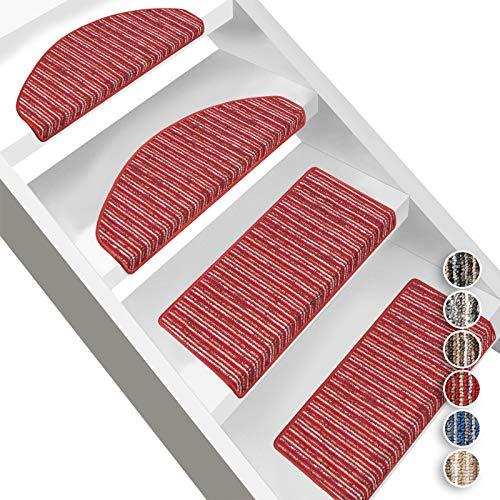 Floordirekt Stufenmatten Trier   Halbrund oder Eckig   Treppenmatten in 6 Farben   Strapazierfähig & pflegeleicht   Stufenteppich für Innen (Eckig 65 x 23,5 cm, Rot)