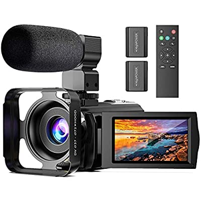 Video Camera Camcorder with Microphone, Anteam FHD 1080P 30FPS 24MP YouTube Vlogging Camera 16X Digital Zoom Camera Recorder with LED Fill Light, Webcam, TV Output, 3.0 Inch IPS 270 ° Flip Screen from Anteam