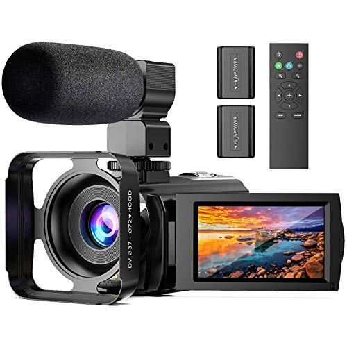 Video Camera Camcorder with Microphone, Anteam FHD 1080P 30FPS 24MP YouTube Vlogging Camera 16X Digital Zoom Camera Recorder with LED Fill Light, Webcam, TV Output, 3.0 Inch IPS 270 ° Flip Screen