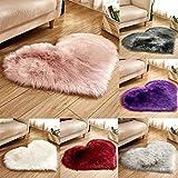 WEUIE Heart Shaped Soft Faux Sheepskin Fur Area Rugs for Home Living Room Sofa Floor Mat Plush, 12 x 16 Inch