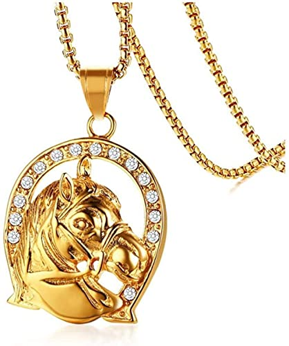 NC110 Collar con Colgante de Acero Inoxidable con Diamantes de imitación de Cabeza de Caballo, joyería Creativa de fundición para Hombres de Moda, joyería Dorada de Varias Tendencias, YUAHJIGE