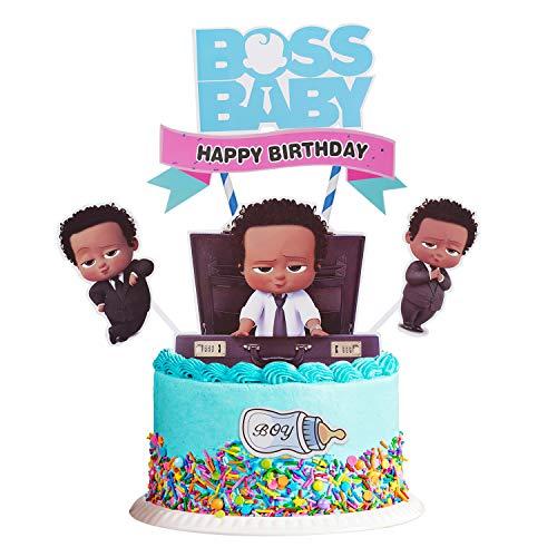 Boss Baby Cake Topper, Boss Baby Happy Birthday Cake Topper, Birthday Party Baby Shower Cake Decorative Supplies (Boy)
