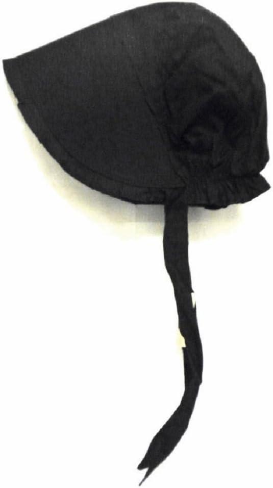 100% Black Cotton Prairie Pilgrim Amish Bonnet Medium Thanksgiving Hat