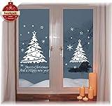 heekpek Pegatinas de Ventana de Puerta de Navidad Blanca Grande árbol de Navidad Santa...