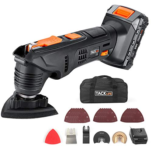TACKLIFE Oscillating Tool, 20V Max Cordless Multi-Tool, 24 pcs Accessories, 2.0Ah Li-Ion Battery, 1 Hour Fast Charge, 6 Speeds for Grout Removing, Scraping, Cutting and Polishing, Carry Bag include