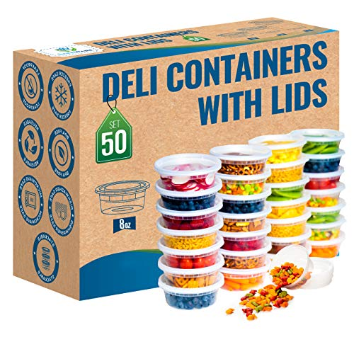 Safeware 8oz 50 Sets Deli Plastic Food Storage Containers with Airtight Lids - Great for Slime Soup Portion Control and Meal Prep  Microwave  Dishwasher  Freezer Safe  Leakproof  Stackable