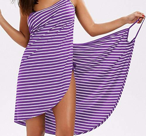 SHADIOA Toalla de baño Albornoz Rayas Rayado Vestido de Playa 2 en 1 Vestido Spaghetti Strap Swimsuits Bikini Wrap Dress,C,XL