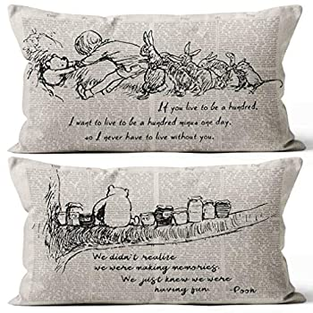 Winnie the Pooh and Piglet Pillow Case Friendship Gifts Decorative Pillow Covers Winnie the Pooh Theme Room Gifts for Son Boy Room Decor 20x12 Inch Set of Two Cushion Cover for Sofa Couch Bed