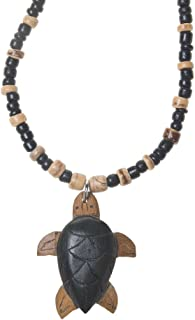 Welcome to the Islands Wooden Turtle Tiger Coconut Wood Beaded Necklace
