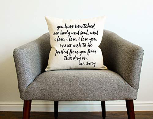 Mike21Browne Kissenbezug mit Zitat Mr Darcy Zitat, Geschenk für Ihre Mutter, Heimdekoration, Buchliebhaber, Geschenk für Stolz und Vorurteil Jane Austen