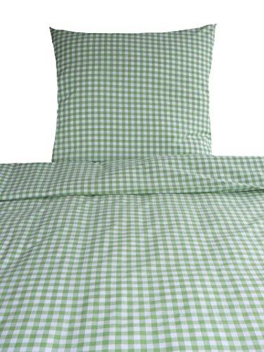 Bettwäsche Landhaus Karo grün kariert Bauern 135x200 Frühling Sommer apfelgrün