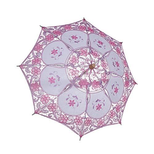 Yue668 Mini Vintage Holz Bestickt aus Reiner Baumwolle Side Umbrella Hochzeit Umbrella Hochzeitsgeschenk (Rosa)