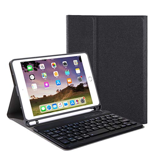WLWLEO beschermhoes voor iPad 10.2 (2019), schokbestendig, met Bluetooth-toetsenbord, afneembaar, met pennenhouder