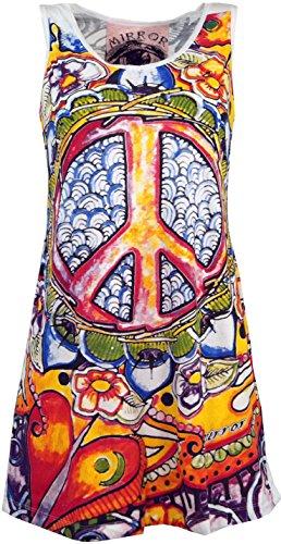 GURU SHOP Mirror Tank Top, Longshirt, Minikleid, Damen, Peace/Weiß, Baumwolle, Size:M (38), Bedrucktes Shirt Alternative Bekleidung