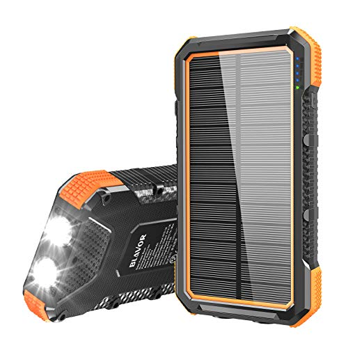 BLAVOR Solar Powerbank 20000mAh, Solar Ladegerät 15W Externer Akku mit 4 USB/Typ C Ausgängen & Duale LED Lampe, Tragbares Outdoor Power Bank Solarpanel Kompatibel für iPhone, iPad, Samsung, Huawei