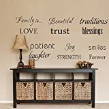 LUCKKYY Family Wall Decal~~ Set of 12 Family Words Quote Vinyl Family Wall Sticker Picture Wall Decal Family Room Art Decoration (The Picture photos not included)