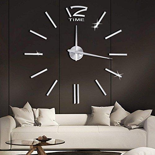 SOLEDI Wanduhr Design DIY 3D Aufkleber Spiegel Wandtattoo ideale Dekoration für Wohnzimmer...