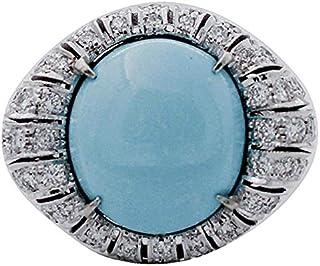 Anello Oro Bianco, Turchese e Diamanti