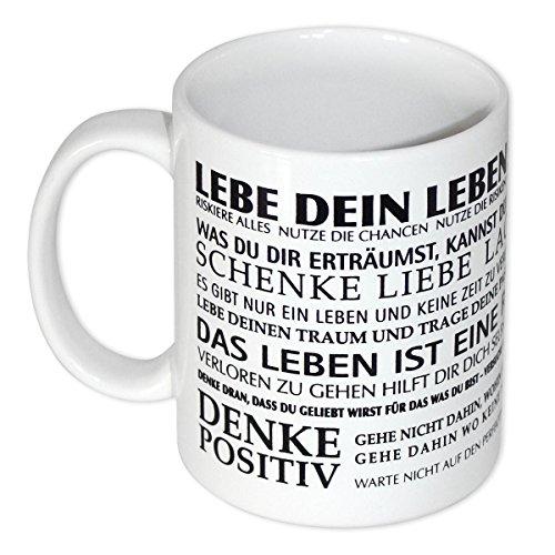 Close Up Lebe Dein Leben Tasse - Motivation für den Morgen, weiß, aus Keramik