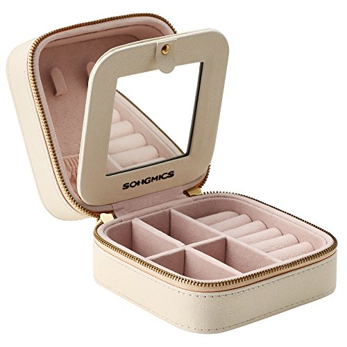 SONGMICS Small Jewelry Box, Travel Case Organizer for Rings Necklaces with Mirror, Beige UJBC146BEV1