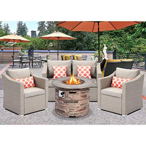 SUNBURY Outdoor 4-Piece Patio Furniture Set, PE Rattan Wicker Conversation Set, Loveseat and Armchairs Propane Fire Pit Table w 32-inch 40,000 BTU Stone-Crest Fire Table, Fits 20 gal Tank Inside