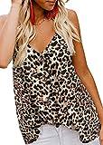MOLERANI Blusas sin Mangas con Cuello en V con Botones y Tiras para Mujer, Blusas Sueltas Informales sin Mangas (L, Estampado de Leopardo con Manchas)