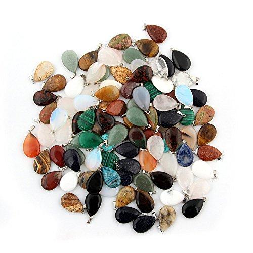 Juego de 20 colgantes de cristal de cuarzo redondo con forma de lágrima y un diseño de curación de los chakras para la elaboración de joyería, de color aleatorio