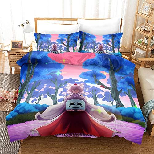 Duvet Cover King Size 240 x 220 cm with 2 Pillowcases 50 x 75 cm Bedding 3-piece set by Microfiber with Zipper cotton candy printing Duvet Cover set