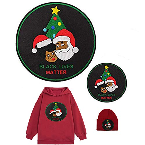 African American Santa Claus Embroidered Iron on Patch Christmas Pajamas for Family DIY