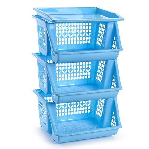 Plastic Forte - Set 3 cestas apilables Multiusos en Color Az