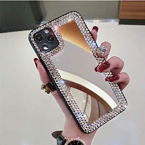 Caja del teléfono del espejo del brillo del diamante de la moda de lujo para el iphone 11 12 Pro Max XR X XS Max 6s 7 8 Plus cubierta del espejo del maquillaje de la muchacha, 1, para el iPhone X