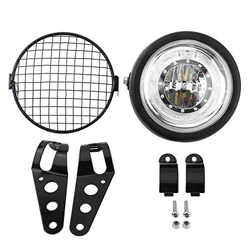 """Faro redondo LED blanco de 6.5\""""para motocicleta, Keesno 12V Universal Negro Soporte de montaje Faro delantero Parrilla Cubierta de montaje lateral con soporte Luces de paso Luces delanteras Lámpara"""