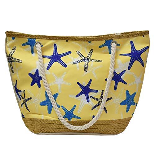 We We Oversize Straw Beach Bag Duffel Bags Waterproof Canvas Tote Hand Bag for Women Girls, Starfish Beach Bag, XXX- Large