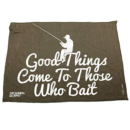 Fishing Funny Microfiber - Good Things Come To Those Who Bait Hand Towel novelty Towels angling gifts mens fashion clothing Sweat Rags attire Rag dad