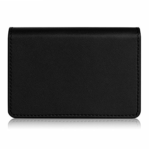 FYY Business Card Holder, Handmade Premium Leather Business Name Card Case Universal Card Holder with Magnetic Closure (Hold 30 pics of Cards) Black Photo #2
