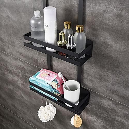 PaNt Estantería de almacenamiento de aluminio para ducha, para uso doméstico, extra grande, 2 almacenes, se utiliza para colgar el estante de ducha, para champú/gel de ducha (estilo barandilla)