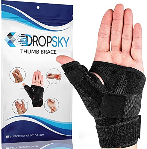 DropSky Thumb Support Brace - Thumb Splint - Thumb Stabilizer for Men and Women - Right Hand and Left Hand, Reversible - Arthritis Pain and Support - Carpal Tunnel - Immobilizer Wrist Strap -One Size Fits Most 1-Pack (Black)