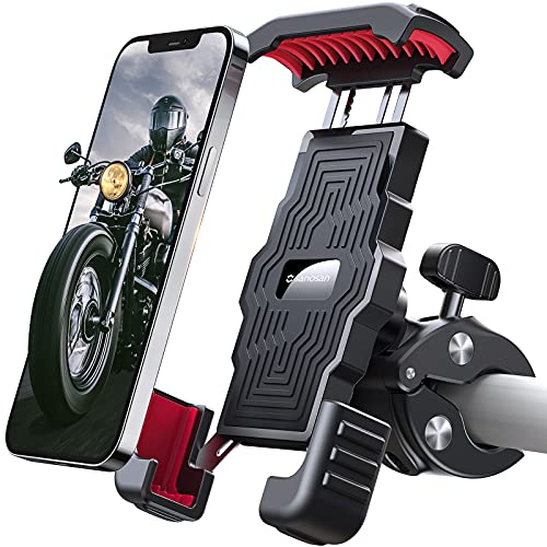 """Sanosan One-Push Motorcycle Phone Mount,15s Quickly Install,1 Second Automatically Lock & Release,High-Speed Secure Switch,Bike Accessories for Motorcycle,Widely Compatible for Cellphone(4.7""""-7"""")"""