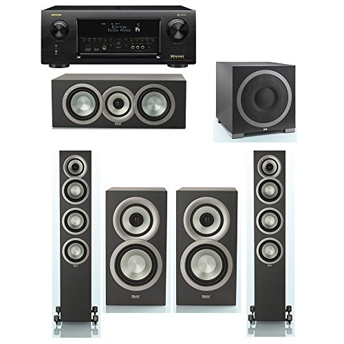 Affordable ELAC Uni-Fi Slim Black 5.1 System with 2 ELAC FS-U5 Floorstanding Speakers, 1 ELAC CC-U5 Center Speaker, 2 ELAC BS-U5 Speaker, 1 ELAC Debut S12EQ Powered Subwoofer, 1 Denon AVR-X6300H Receiver