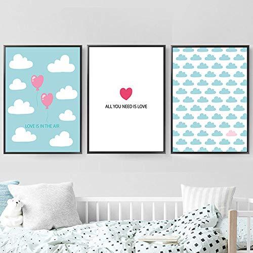 hdbklhjxk Nordic Ins Art canvas schilderij afdrukken liefde citaat poster wolk ballon afbeeldingen muur voor meisjes jongens kamer kinderkamer wooncultuur 40x60cmx3 geen lijst