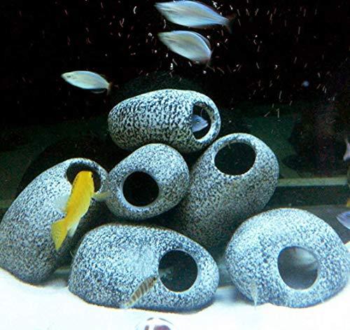 KeepGrace 3 Pcs Aquarium Cichlid Stone Ceramic Rock Cave Aquarium Fish Tank Pond Shrimp Breeding Ornament Decor Accessory Decorative Marbles