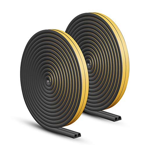 KELIIYO Door Weather Stripping, Window Seal Strip for Doors and Windows - Self-adhisive Foam Weather Strip Door Seal | Soundproof Seal Strip Insulation Gap Blocker Epdm D Type 66ft(20m) 2 Pack (Black)