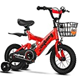 N&I Bike Kids Bike Boys/Girls Bikes with Training Wheels Boys Girls Freestyle Bicycle for 2-12 Years Old with Back Seat And Basket Children's Mountain Bike with Rear Suspension Red 2 18 Inch