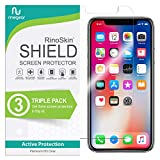 (3-Pack) RinoGear Screen Protector for iPhone 11 Pro, XS, X Case Friendly iPhone 11 Pro, XS, X Screen Protector Accessory Full Coverage Clear Film