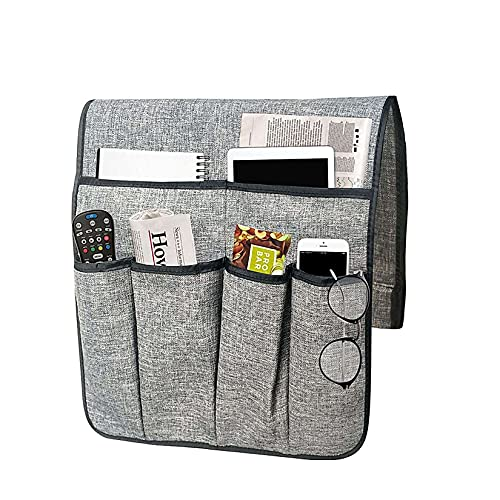 Unmbo revistas de Control Holder,Sofá Apoyabrazos/Couch Organizador/a Presidente, a Distancia de televisión, Almacenamiento con 6 Bolsillos para el teléfono-Gris