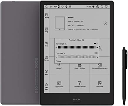 BOOX Note Pro 10.3 E-Reader, Front Light, 4 G 64 G Android 6.0, Glass Flush Screen