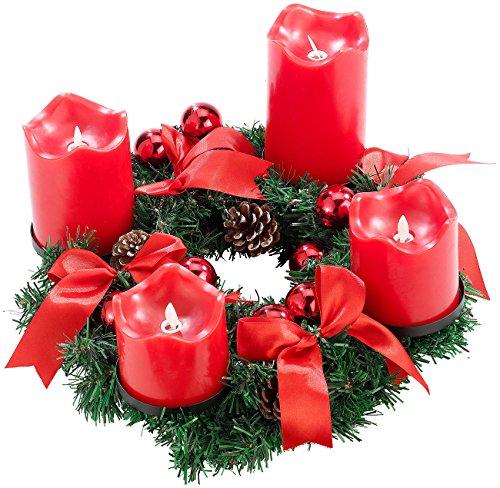 Britesta Adventskranz, rot, 4 rote LED-Kerzen mit bewegter Flamme