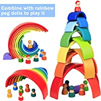 Lewo 12 Pezzi Impilatore Arcobaleno in Legno Gigante Puzzle di Annidamento Gioco di Impilamento Giocattoli Montessori in Legno Arch Building Blocks Giocattolo Educativo per Bambini Piccoli Maschietti #4