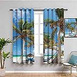 Hamaca de playa decoración colección cortina opaca hamaca y palmeras arena soleada paisaje patrón traer belleza verde azul marfil w108 x l84 pulgadas