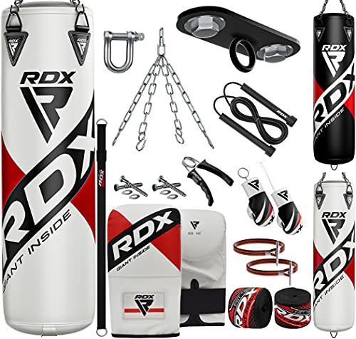 RDX Sac de Frappe Rempli Lourd MMA Muay Thai Kickboxing Arts Martiaux Gants Boxe Chaine Suspension Plafond Punching Bag, 13PC, 4ft 5ft